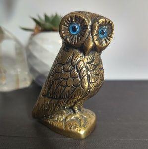 Vintage Owl paperweight Figurine Bronze Glass blue